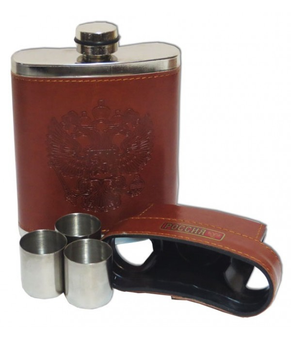 Flask metal In a leather cover with three piles, in a gift box - Flask metal