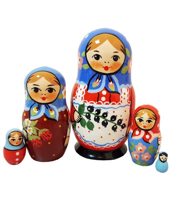 Nesting doll Traditional 5 pcs. small currants - Nesting doll, Traditional