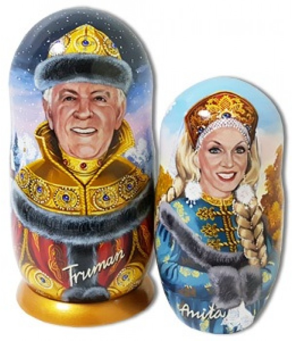 Nesting doll by customer specification portrait 2 pcs. (two portraits by photos) - By customer specification, Nesting doll