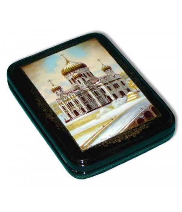Lacquer Box Fedoskino The Cathedral of Christ the Savior author Panferov - Fedoskino, Lacquer Box