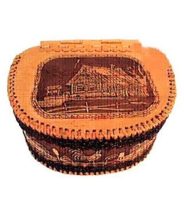 birch bark products a bread box with a hinged lid, Hut, 23 x 30 x 31 - Birch bark products