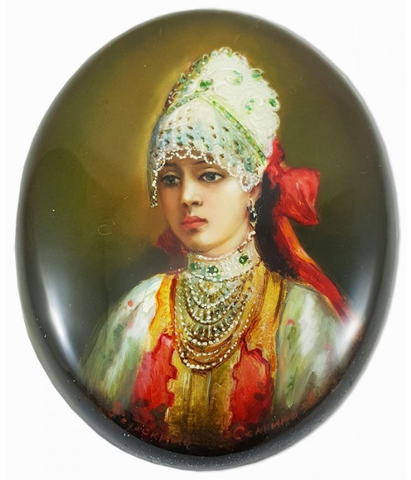 Lacquer Box Fedoskino Good woman with ribbon in hair. - Fedoskino, Lacquer Box