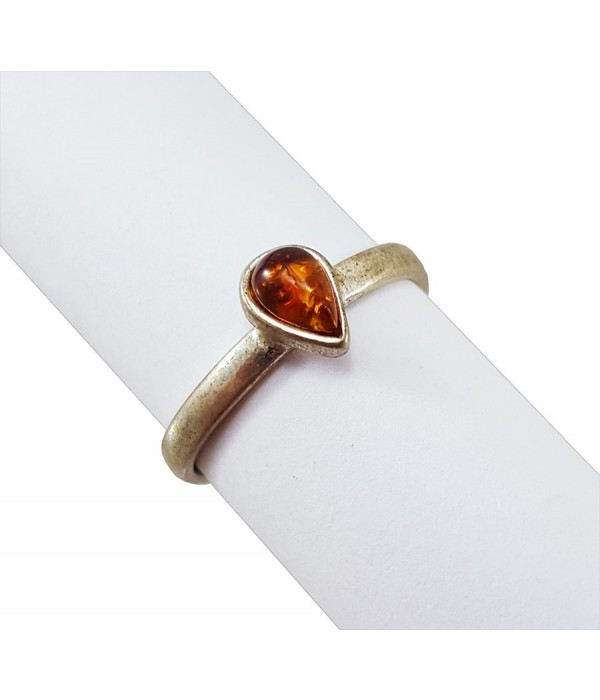 Amber ring Small heart - Amber, Ring