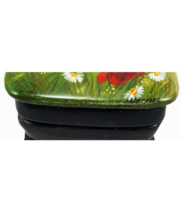 Lacquer Box Fedoskino A bouquet of flowers, poppies with daisies - Fedoskino, Lacquer Box