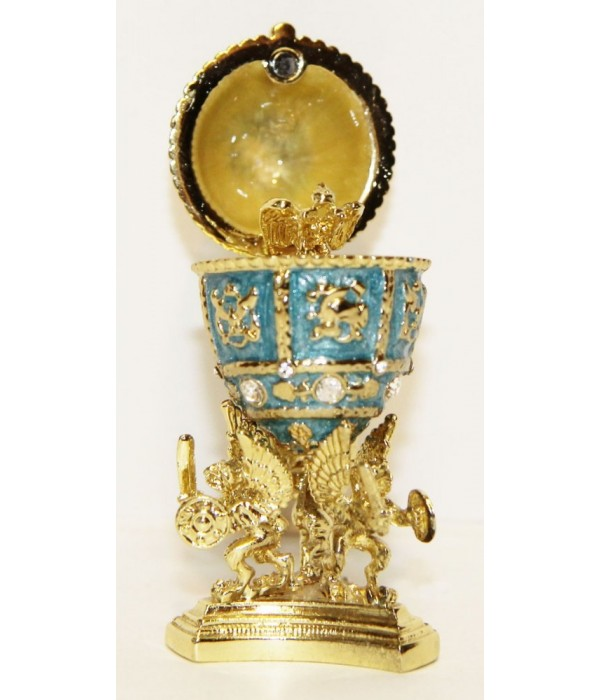 Copy Of Faberge easter egg, JD0495-3 Egg With a crown inside, small,  blue, 6,5. - Copy of Faberge