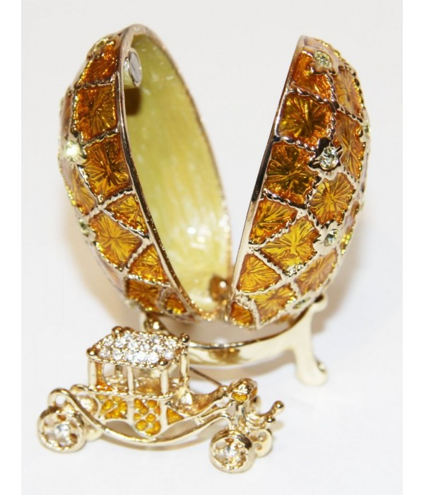 Copy Of Faberge GD317-3+JB1561-7 Egg the Grid with the carriage gold - Copy of Faberge
