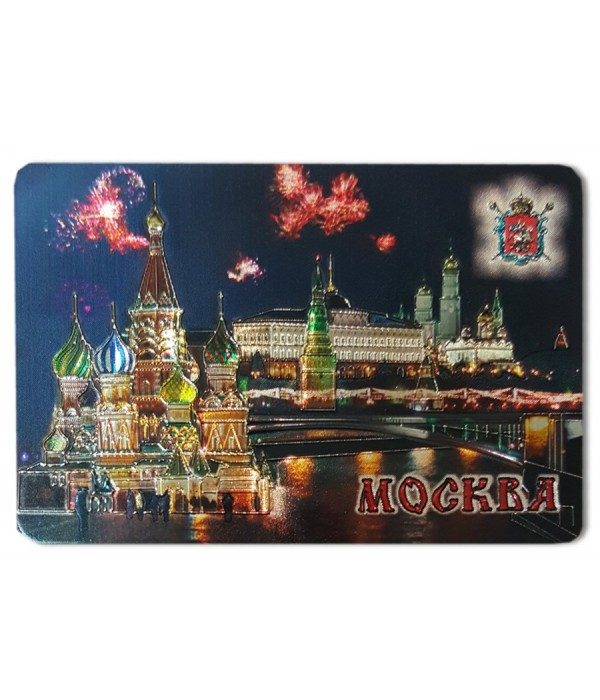 Magnet vinyl 025-6-19K15 Magnet wines. foil &quot-Moscow Night, St. Basil's Cathedral, View&quot- - Magnet, Vinyl