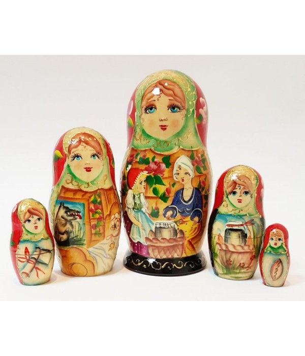 Nesting doll 5 pcs. the tale of little red riding hood and grey wolf - 5 pcs., Nesting doll