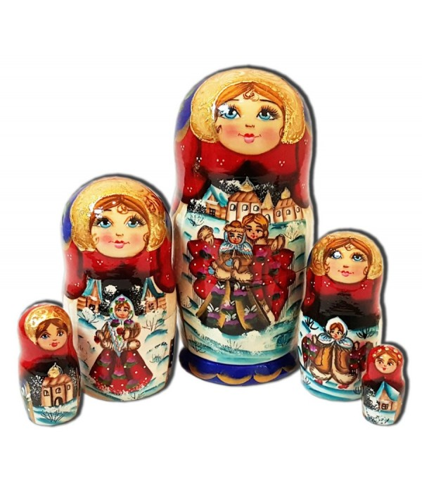 Nesting doll 5 pcs. two, the guy with the girl - 5 pcs., Nesting doll
