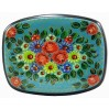 Lacquer Box Mstera Flowers, blue background
