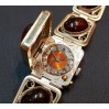 Watches women's, Seagull, bracelet with lid, amber and scan